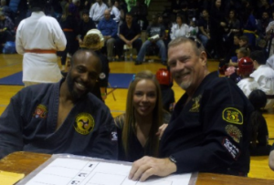 Grandmaster Barton with Master Hillary and Master Jose at a recent tournament